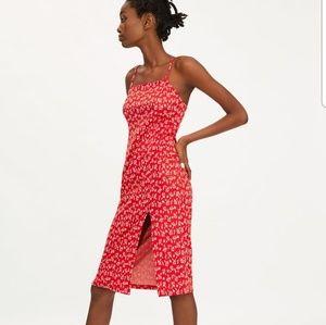 Zara Floral Red Dress
